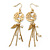 Matt Gold Tone Bird Silhouette With Chains, Leaf, Freshwater Pearl Drop Earrings - 8cm Length