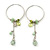 Silver Tone Hoop With Pale Green Bead Chain Dangle - 70mm Length