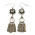 Vintage Inspired Filigree Flower, Freshwater Pearl, Tassel Drop Earrings In Antique Silver Tone - 65mm Length