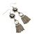 Vintage Inspired Filigree Flower, Freshwater Pearl, Tassel Drop Earrings In Antique Silver Tone - 65mm Length - view 2