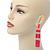 Long Pink Enamel Geometric Drop Earrings In Gold Plating - 90mm Length - view 4