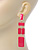 Long Pink Enamel Geometric Drop Earrings In Gold Plating - 90mm Length - view 5