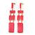 Long Pink Enamel Geometric Drop Earrings In Gold Plating - 90mm Length