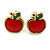 Children's/ Teen's / Kid's Red Apple, Pink Flower, Black/ White Bee Stud Earring Set In Gold Tone - 8-10mm - view 3