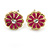 Children's/ Teen's / Kid's Red Apple, Pink Flower, Black/ White Bee Stud Earring Set In Gold Tone - 8-10mm - view 4