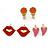 Children's/ Teen's / Kid's Pink Heart, Red Lips, Orange Mirror Stud Earring Set In Gold Tone - 10-12mm
