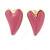 Children's/ Teen's / Kid's Pink Heart, Red Lips, Orange Mirror Stud Earring Set In Gold Tone - 10-12mm - view 4