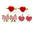 Children's/ Teen's / Kid's Pink Bow, Red Heart, Deep Pink Heart Stud Earring Set In Gold Tone - 8-10mm