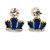 Children's/ Teen's / Kid's Blue Crown, White Cat, Pink Star Stud Earring Set In Gold Tone - 10-14mm - view 4