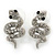 Rhodium Plated Crystal 'Snake' Stud Earrings - 25mm Length