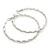 Large Rhodium Plated Clear Austrian Crystal Wavy Hoop Earrings - 60mm D - view 7