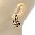 Gold Tone, Black Enamel, Crystal Snake Stud Earrings - 37mm Length - view 2