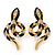 Gold Tone, Black Enamel, Crystal Snake Stud Earrings - 37mm Length