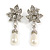 Bridal, Prom, Wedding Austrian Crystal, White Simulated Glass Pearl 'Flower' Drop Earrings In Rhodium Plating - 50mm Length