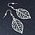 Light Silver Tone Leaf Drop Earrings - 55mm L