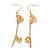 Matte Gold Tone Double Heart Chain Drop Earrings - 70mm Length