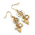 Gold Plated Flower, Leaf, Freshwater Pearl Drop Earrings - 45mm Length - view 7