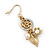 Gold Plated Flower, Leaf, Freshwater Pearl Drop Earrings - 45mm Length - view 6