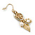 Gold Plated Flower, Leaf, Freshwater Pearl Drop Earrings - 45mm Length - view 4