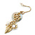 Gold Plated Flower, Leaf, Freshwater Pearl Drop Earrings - 45mm Length - view 5