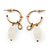 Small Vintage Inspired Antique Gold Tone Hoop Earrings With Milky White Glass Bead - 35mm Length
