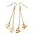 Long Gold Plated Chain 'Swallow' Dangle Earrings - 7cm Length - view 5
