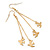 Long Gold Plated Chain 'Swallow' Dangle Earrings - 7cm Length