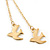 Long Gold Plated Chain 'Swallow' Dangle Earrings - 7cm Length - view 4