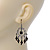 Victorian Style AB Crystal, Black Acrylic Bead Chandelier Earrings In Antique Silver Tone - 50mm Length - view 3