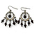 Victorian Style AB Crystal, Black Acrylic Bead Chandelier Earrings In Antique Silver Tone - 50mm Length - view 4