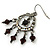 Victorian Style AB Crystal, Black Acrylic Bead Chandelier Earrings In Antique Silver Tone - 50mm Length - view 5