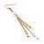 Long Gold Tone White Faux Pearl Chain Dangle Earrings - 8cm Length - view 4