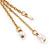 Long Gold Tone White Faux Pearl Chain Dangle Earrings - 8cm Length - view 6