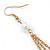 Long Gold Tone White Faux Pearl Chain Dangle Earrings - 8cm Length - view 5