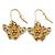Matt Gold Butterfly & Flower Drop Earrings - 25mm L