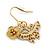 Matt Gold Butterfly & Flower Drop Earrings - 25mm L - view 2