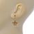 Matt Gold Butterfly & Flower Drop Earrings - 25mm L - view 4