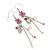 Pink Enamel Flower, Acrylic Bead Chain Dangle Earrings In Silver Tone - 8cm Length - view 7