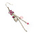 Pink Enamel Flower, Acrylic Bead Chain Dangle Earrings In Silver Tone - 8cm Length - view 4