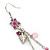 Pink Enamel Flower, Acrylic Bead Chain Dangle Earrings In Silver Tone - 8cm Length - view 5