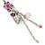 Pink Enamel Flower, Acrylic Bead Chain Dangle Earrings In Silver Tone - 8cm Length - view 6