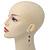 Pink Enamel Flower, Acrylic Bead Chain Dangle Earrings In Silver Tone - 8cm Length - view 8