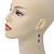 Pink Enamel Flower, Acrylic Bead Chain Dangle Earrings In Silver Tone - 8cm Length - view 2