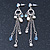 Vintage Inspired Freshwater Pearl, Light Blue Crystal Chain Tassel Drop Earrings In Silver Tone - 75mm L - view 6