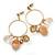 Vintage Inspired Glass Bead, Freshwater Pearl, Beige Quartz Stone Hoop Earrings In Gold Plating - 65mm Length
