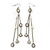 Long Chain Milky White Bead Dangle Earrings In Antique Silver Metal - 11.5cm Length - view 5