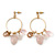 Vintage Inspired Glass Bead, Freshwater Pearl, Rose Quartz Stone Hoop Earrings In Gold Plating - 65mm Length - view 6