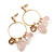 Vintage Inspired Glass Bead, Freshwater Pearl, Rose Quartz Stone Hoop Earrings In Gold Plating - 65mm Length - view 1