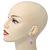 Pink Simulated Pearl, Crystal Drop Earrings In Rhodium Plating - 40mm Length - view 3