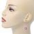 Pink Simulated Pearl, Crystal Drop Earrings In Rhodium Plating - 40mm Length - view 7